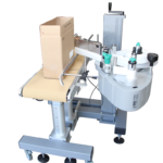 This product can be used to apply labels to product, shipping boxes, and many other items.   System can be outfitted with either print and apply, or an apply only style labeling head.