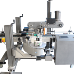 This system will allow you to apply labels on both front and back of your product in one pass.  This is especially useful when you have an oblong shape product that cannot be rolled in a wrap style machine.